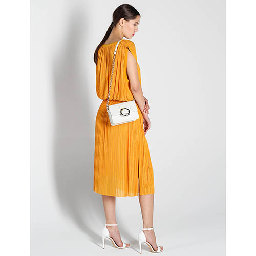 Плиссированное платье-миди Stella McCartney оранжевого цвета, фото