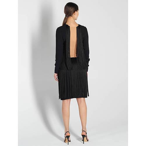 Платье с длинным рукавом Stella McCartney с бахромой и открытой спинкой, фото