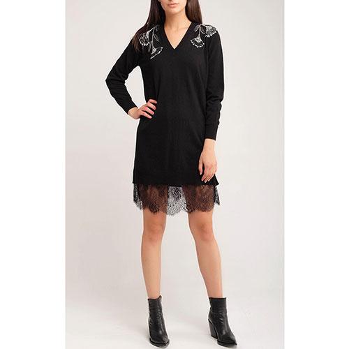Черное платье Twin-Set прямого кроя с кружевом, фото