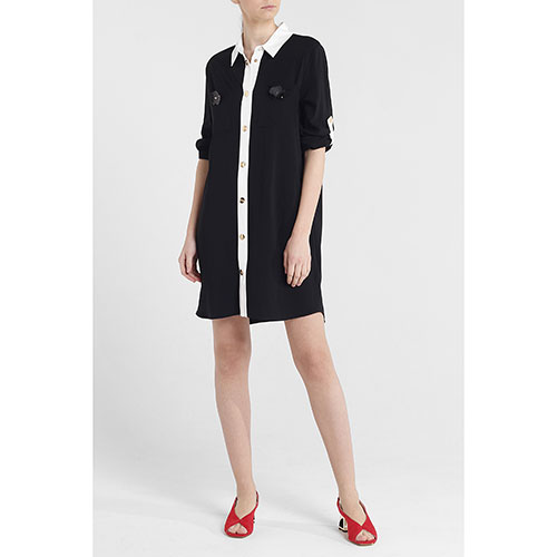 Черное платье-рубашка Cavalli Class до колен, фото