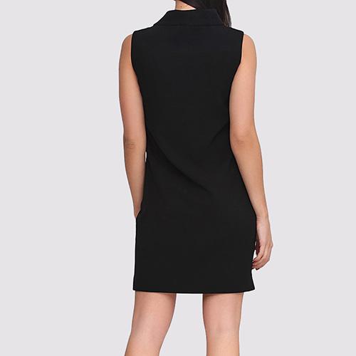 Платье с воротником Boutique Moschino до колен черного цвета, фото