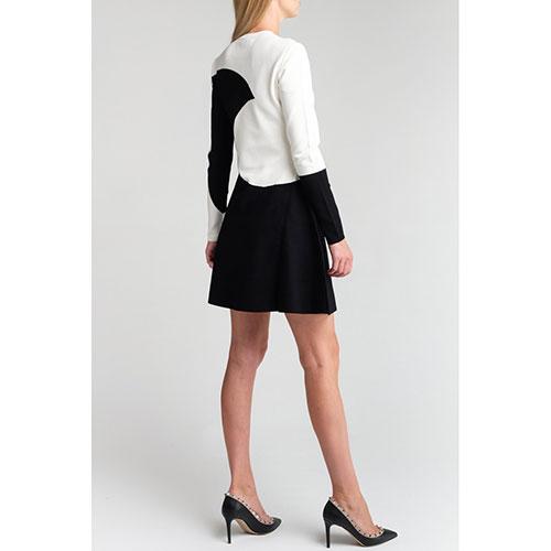 Черно-белое платье Valentino с длинным рукавом, фото