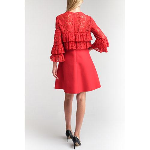Красное платье Valentino с вставкой из ажурного кружева, фото