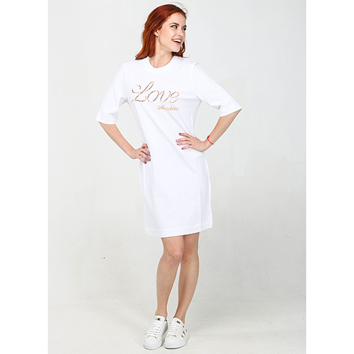 Белое платье Love Moschino до колен, фото