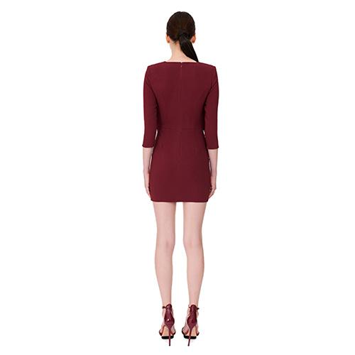 Бордовое платье Elisabetta Franchi с бахромой, фото