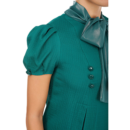 Зеленое платье Elisabetta Franchi с бантом, фото