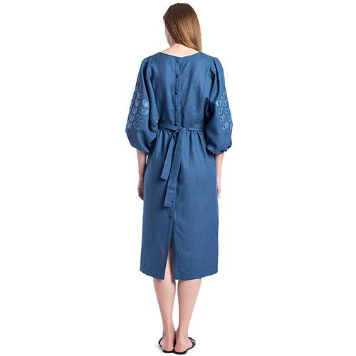 Синее платье Etnodim Dolphin с вышивкой, фото
