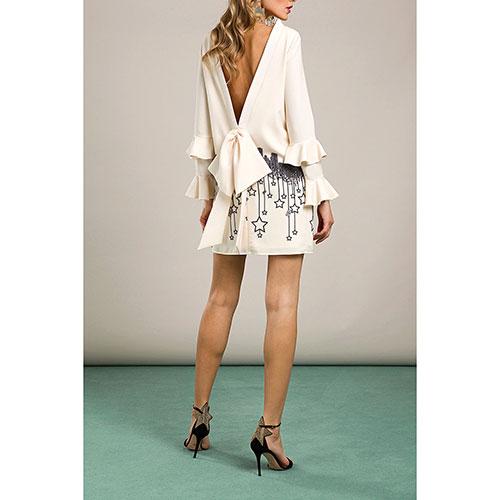 Коктейльное платье Elisabetta Franchi молочного цвета с принтом, фото