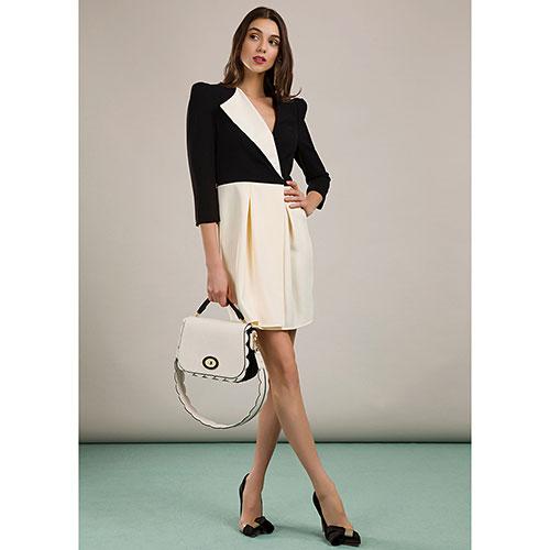 Двухцветное платье Elisabetta Franchi с юбкой до колен, фото