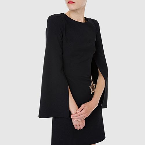 Черное платье Elisabetta Franchi с разрезами на рукавах, фото