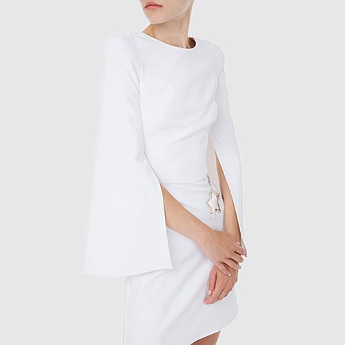 Белое платье Elisabetta Franchi с подвеской-звездой на талии , фото
