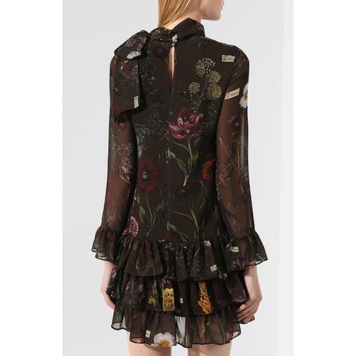 Коричневое платье Ermanno Scervino с цветочным принтом, фото
