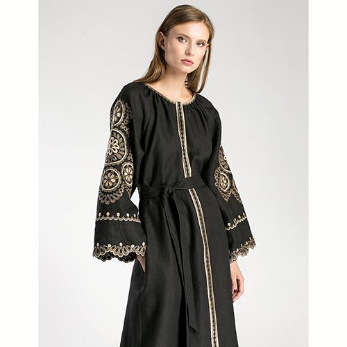 Черное платье Etnodim Gothic вышитое гладью, фото