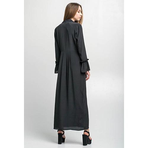 Легкое длинное платье Kaos черного цвета с воланами, фото
