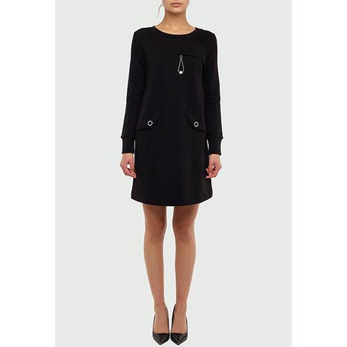 Черное платье Love Moschino с длинным рукавом, фото
