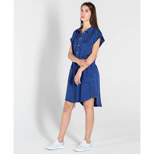 Платье-рубашка Twin-Set синего цвета с карманами, фото