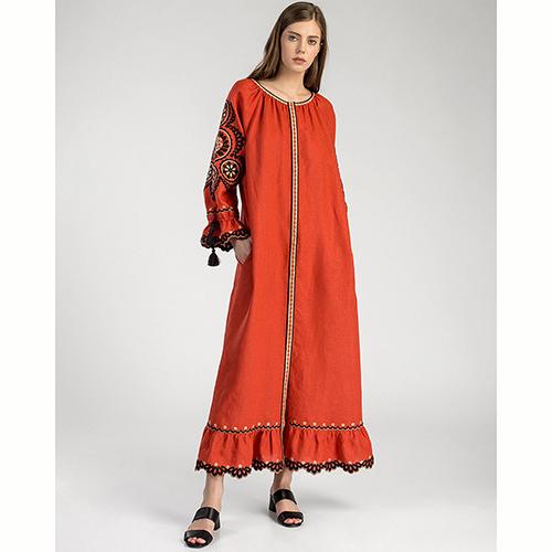 Платье Etnodim Orange терракотового цвета с поясом, фото