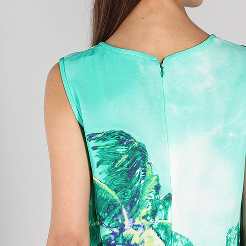 Зеленое платье без рукава P.A.R.O.S.H. с пальмами, фото