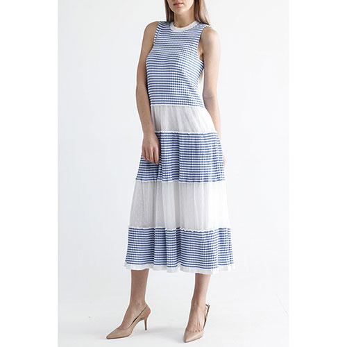 Платье-миди Red Valentino в бело-синюю полоску, фото