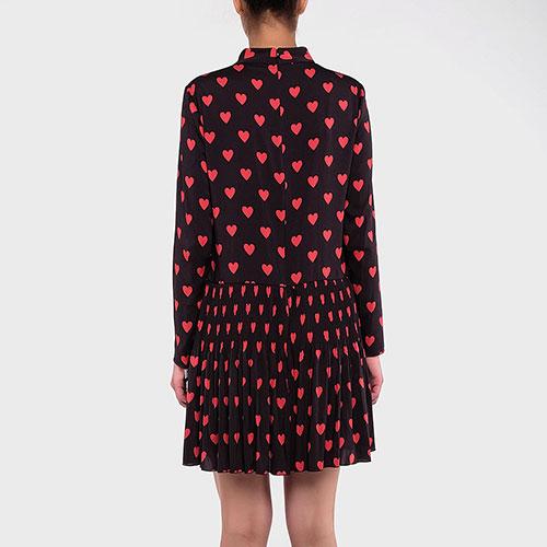 Черное платье Red Valentino с плиссированной юбкой, фото