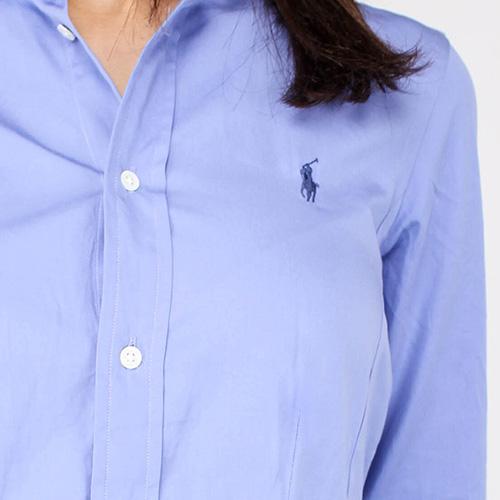 Синее платье-рубашка Polo Ralph Lauren с пышной юбкой, фото
