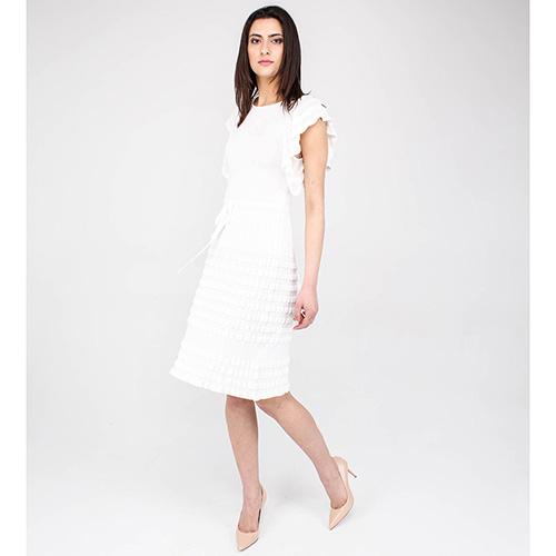 Белое трикотажное платье Blumarine с воланами, фото