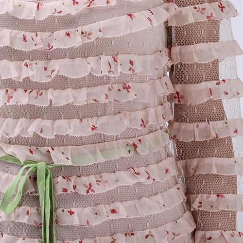Длинное платье Red Valentino бежевого цвета с рюшами, фото
