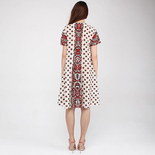 Шелковое платье Red Valentino бежевого цвета с яркими узорами, фото