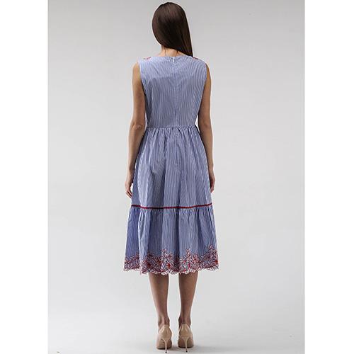 Платье Ermanno Scervino без рукава синее с красным кружевом, фото