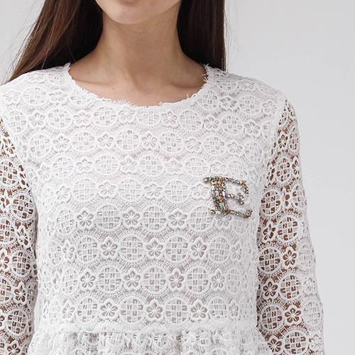 Кружевное платье-беби долл Ermanno Scervino белого цвета, фото