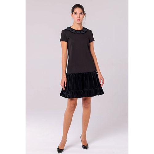 Черное платье Emporio Armani с бархатными юбкой и воротом, фото