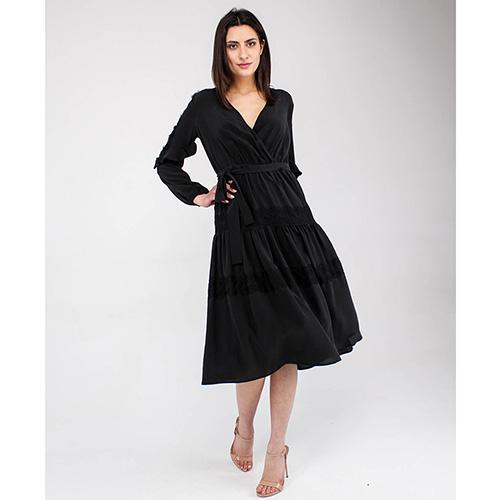 Черное платье Elisabetta Franchi под пояс, фото