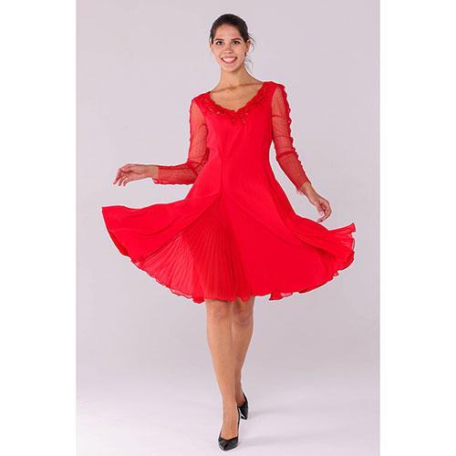 Красное платье Ermanno Scervino с пышной юбкой из струящейся ткани, фото