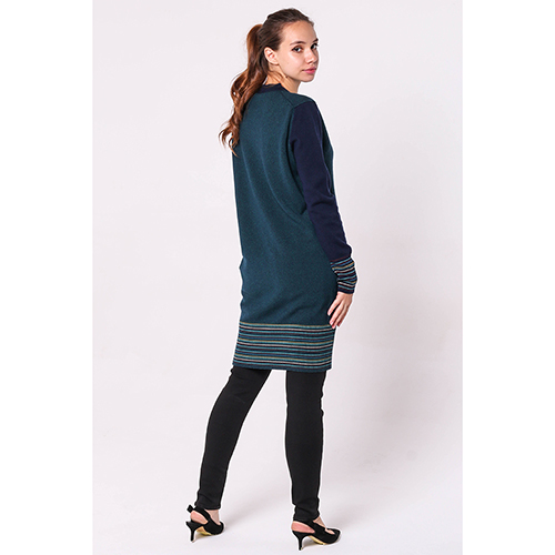 Зеленое платье-туника Kenzo с полосатыми вставками, фото