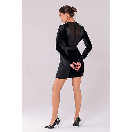 Черное мини-платье Philipp Plein с бархатными элементами и полупрозрачной спинкой, фото
