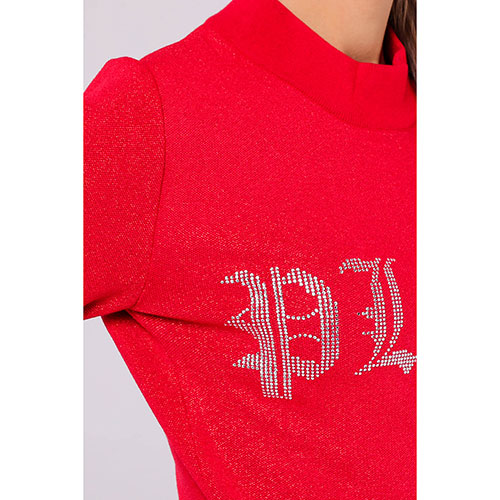 Красное трикотажное платье Philipp Plein с люрексом, фото