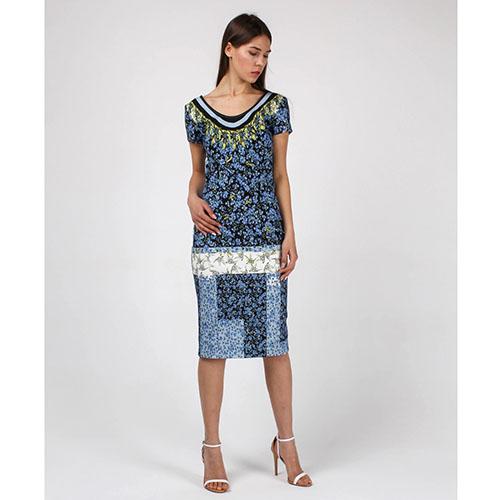 Платье-футляр Cavalli Class синее с растительным принтом, фото
