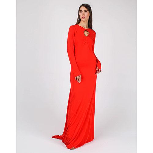 Платье в пол Cavalli Class А-силуэта с брендовым декором, фото