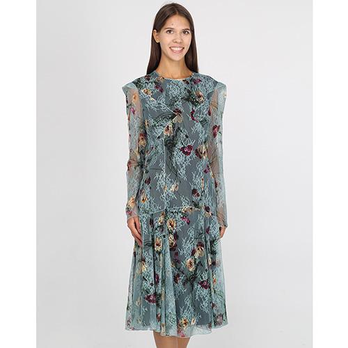 Платье-миди Blumarine из кружева с цветочным принтом, фото