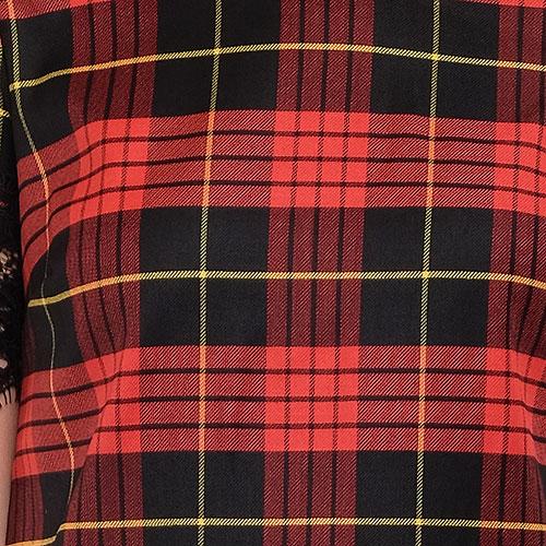 Клетчатое платье Twin-Set окантованное кружевом, фото