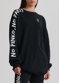 Черный свитшот Pinko с надписью на рукаве, фото
