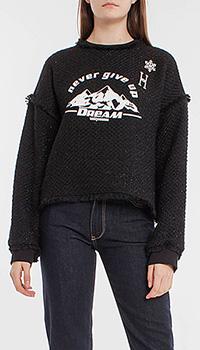 Черный свитшот Pinko с вышивкой и аппликацией, фото