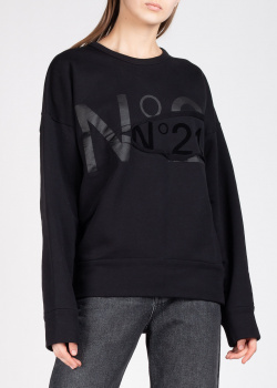 Черный свитшот N21 с логотипом, фото