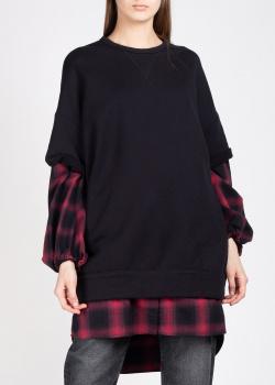 Черный свитшот N21 с клетчатыми рукавами, фото