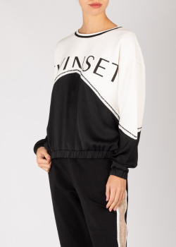 Черно-белый свитшот Twin-Set с брендовым принтом, фото