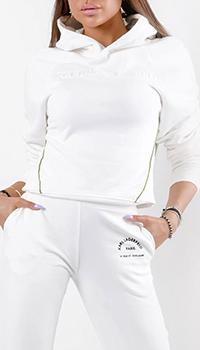 Хлопковое худи Karl Lagerfeld в белом цвете, фото