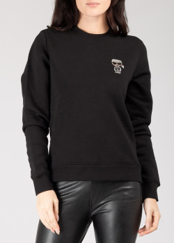 Черный свитшот Karl Lagerfeld с рисунком из страз, фото