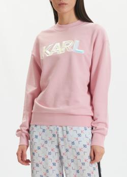 Розовый свитшот Karl Lagerfeld с аппликацией, фото