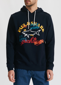 Худи синего цвета Paul&Shark с принтом, фото