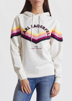 Белое худи Karl Lagerfeld с цветными полосками, фото